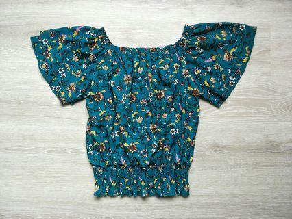 日本品牌水鴨綠碎花罩衫