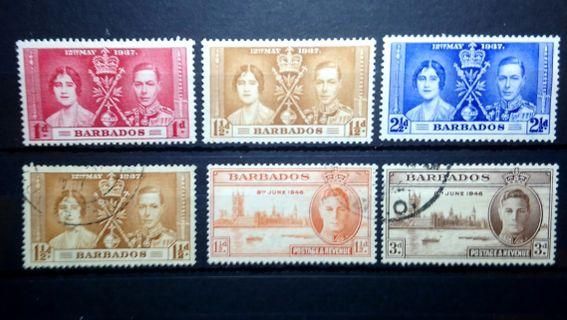 1937 Barbados Stamps 1937 The Coronation of King George VI and Queen Elizabeth mint extra fine