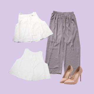 Open back flare top / grey culottes