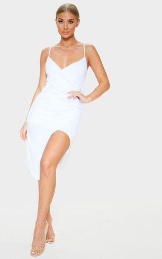 🚚 白色開衩細肩帶洋裝