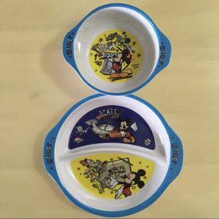 🚚 BN 🍔DISNEY🍔 Mickey Mouse Children/ Kids Bowl & Divided Plate Cutlery Utensils Cookware/ Dinnerware/ Tableware Set