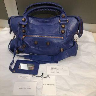 💯 Authentic Balenciaga Velo bag with rose gold giant studs in blue lavender  MINT conditions ( DISCONTINUED)