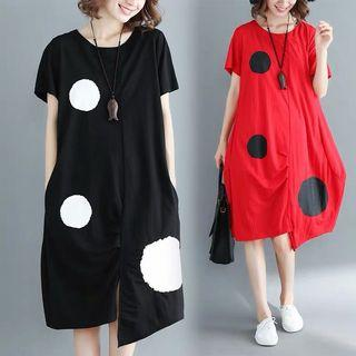 Big Dots Irregular Hem Dress