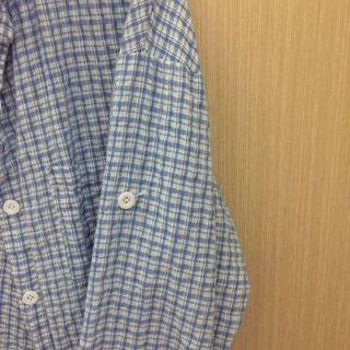 🚚 (二手)(實拍)藍色格紋襯衫