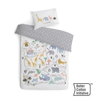 100 Percent Cotton Cot Quilt Cover Set Jungle