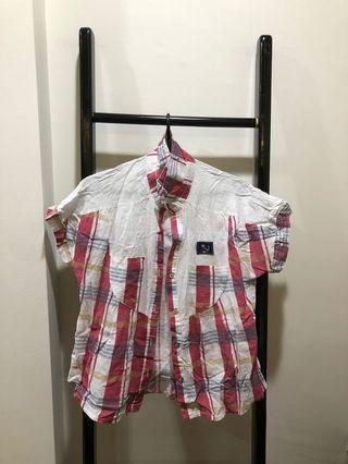 Used Red White Short Sleeve Lady Shirt