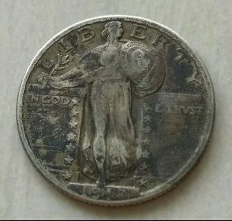 USA 1917 Type 2 Quarter Dollar Silver Coin With Nice Details