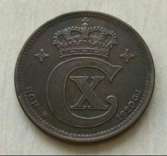 Denmark 1920 5 Ore Coin With Good Details