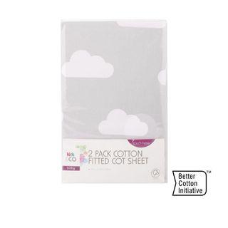 2 Pack Cotton Fitted Cot Sheet - Clouds