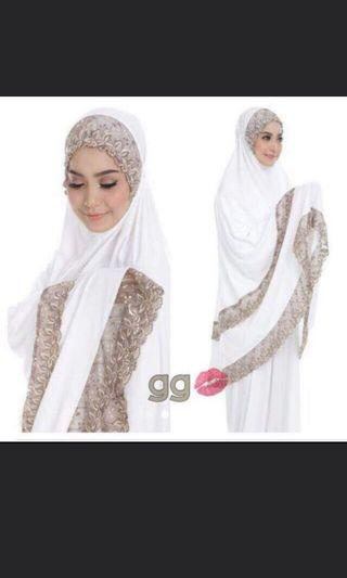 Telekung Lycra Lace 3 Layers Clearance