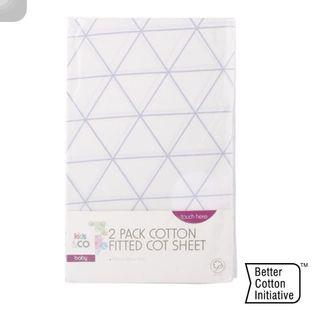 2 Pack Cotton Fitted Cot Sheet - Geometric