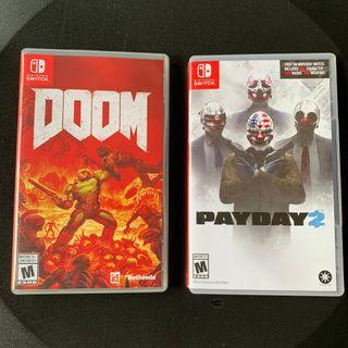 BUNDLE PROMO - PAYDAY 2 + DOOM (Nintendo switch) - original card