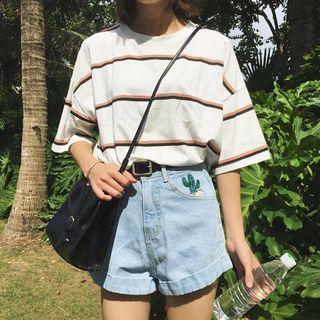 🚚 Ulzzang White Striped Top