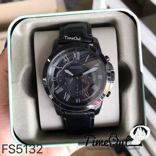 ** Dashing SALES ** Fossil Grant Chronograph Men's Black Leather Strap Watch FS5132