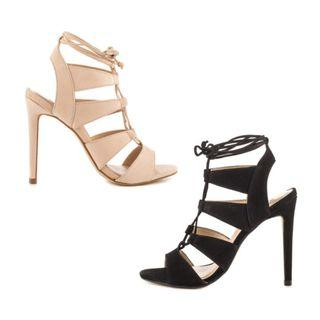 Strappy Heels in Black & Nude