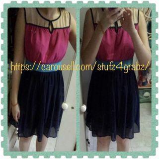 Buy2Get1Free Little Match Girl Colour Block Peach Chiffon Skater Dress