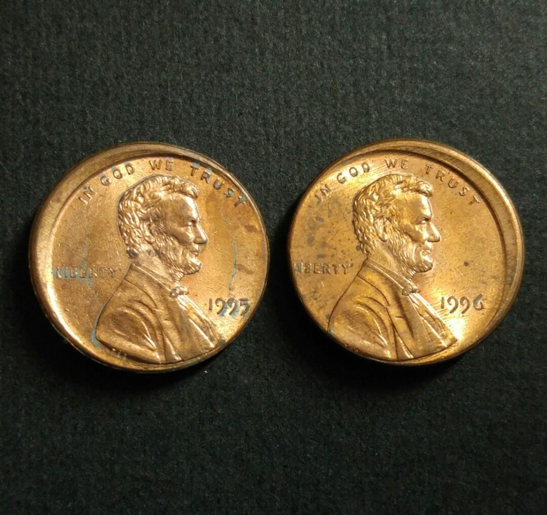 [偏打錯體] 1995年和1996年 美國林肯一仙美金 硬幣兩枚