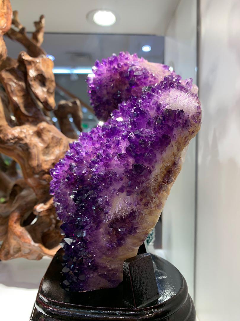 烏拉圭紫晶簇 連木座 超靚👍