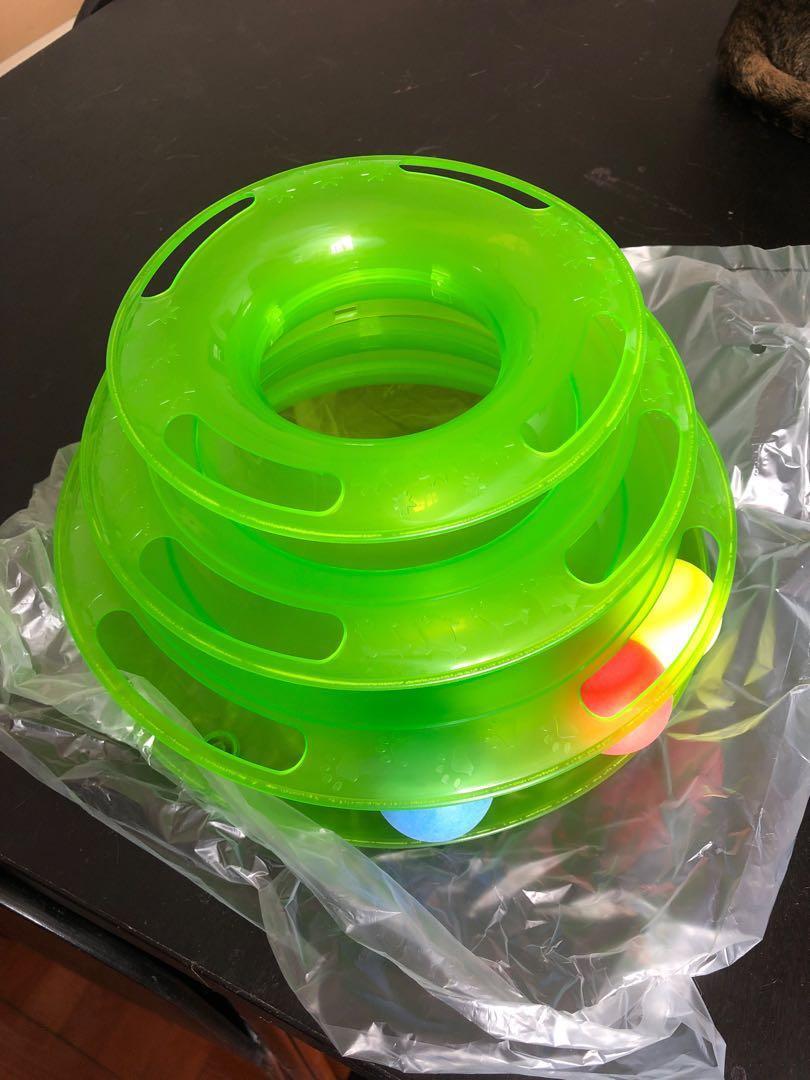 貓 玩具 波波 三層旋轉 綠色