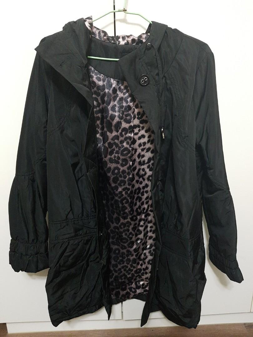 黑長版內裡豹紋外套_M號