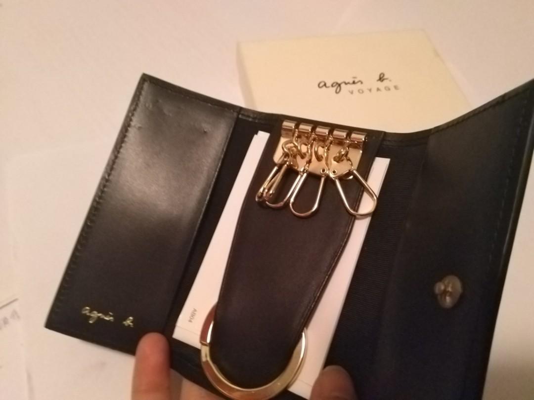 New agnes b Key Bag 全新 黑色 真皮 鎖匙包  配飾
