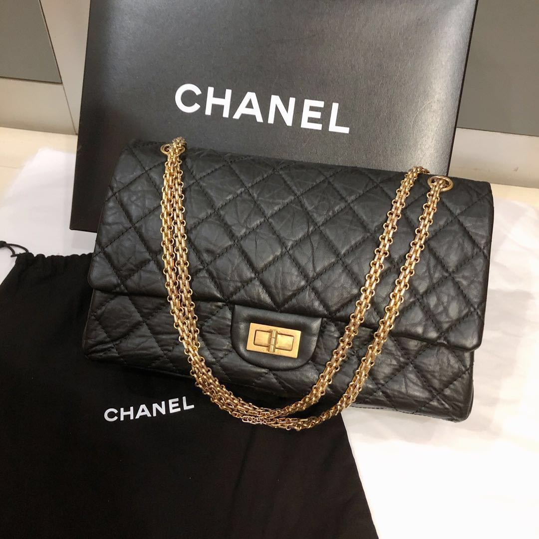 bdd535d49877 💯Authentic Chanel 2.55 in Aged Calfskin leather Maxi size MINT ...