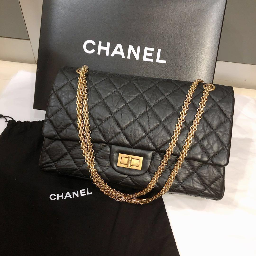 7a4a1c4409 💯Authentic Chanel 2.55 in Aged Calfskin leather Maxi size MINT ...