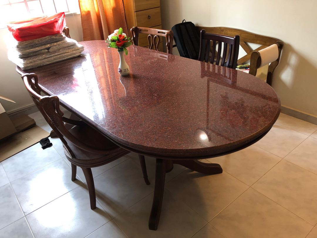 Bargain Price Granite Dining Table with 4 Chairs Furniture Tables \u0026 Chairs on Carousell & Bargain Price: Granite Dining Table with 4 Chairs Furniture Tables ...