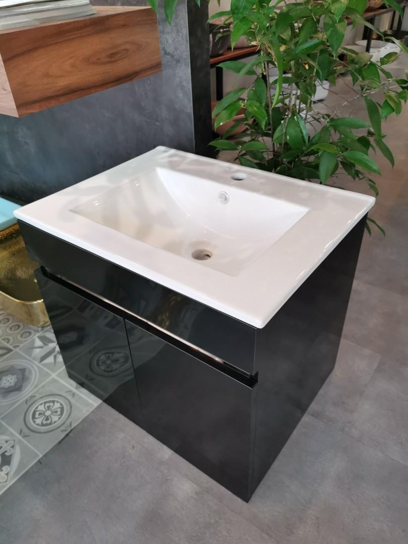 Bathroom Black ss basin with cabinet