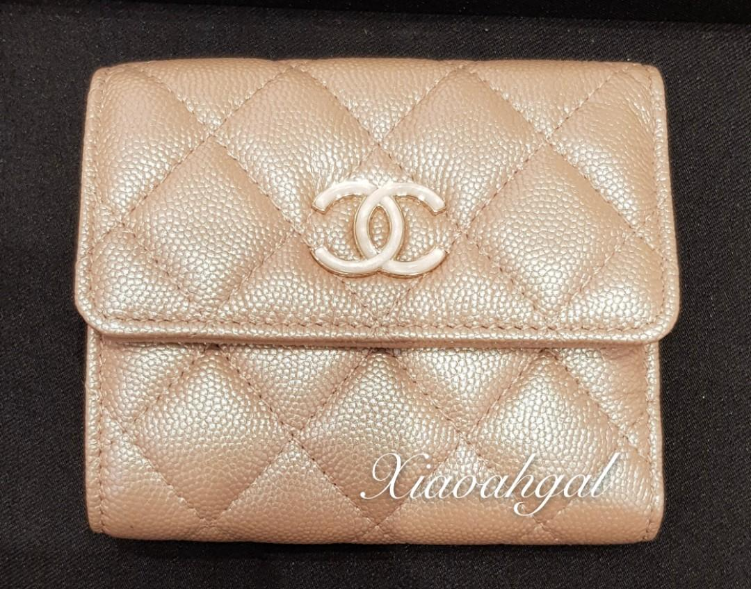 ✔Reserved✔🌟BIDDING (retail over 1k+)🌟 Authentic 19S CHANEL iridescent rose gold beige mother pearl enermal big chanel logo wallet purse