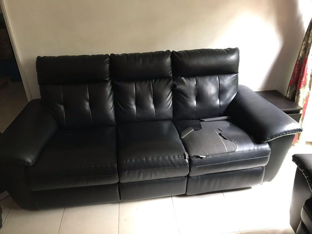 Pleasing Black Leather Sofa Used 3 2 Seater Furniture Sofas On Machost Co Dining Chair Design Ideas Machostcouk