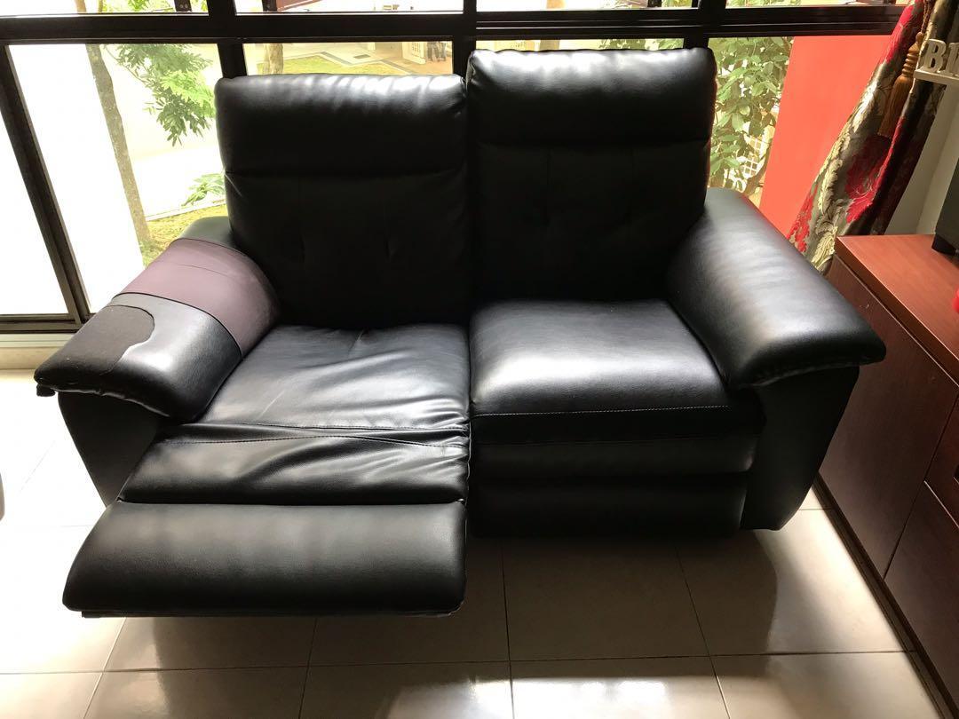 Black Leather Sofa - Used (3+2 seater)