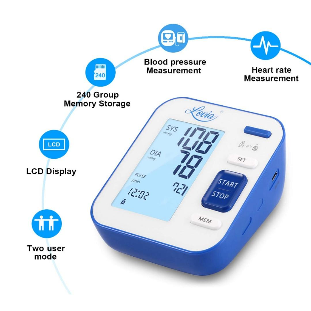 Blood Pressure Monitor, Lovia Automatic Digital Blood Pressure Monitor Upper Arm with Blood Pressure and Pulse Rate for Home Use, 2 * 120 Memory Mode