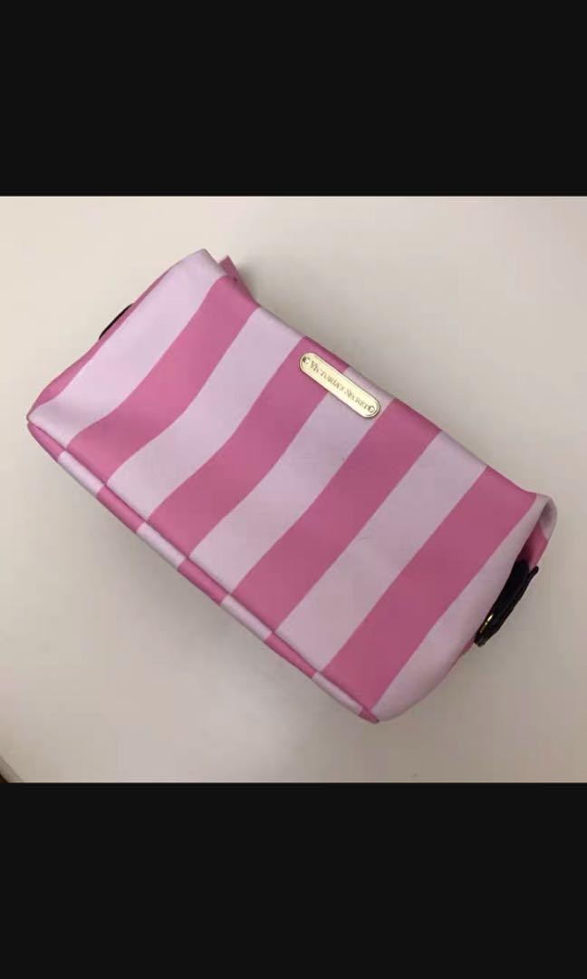 BN Victoria Secret Pink signature striped pouch bag make up case