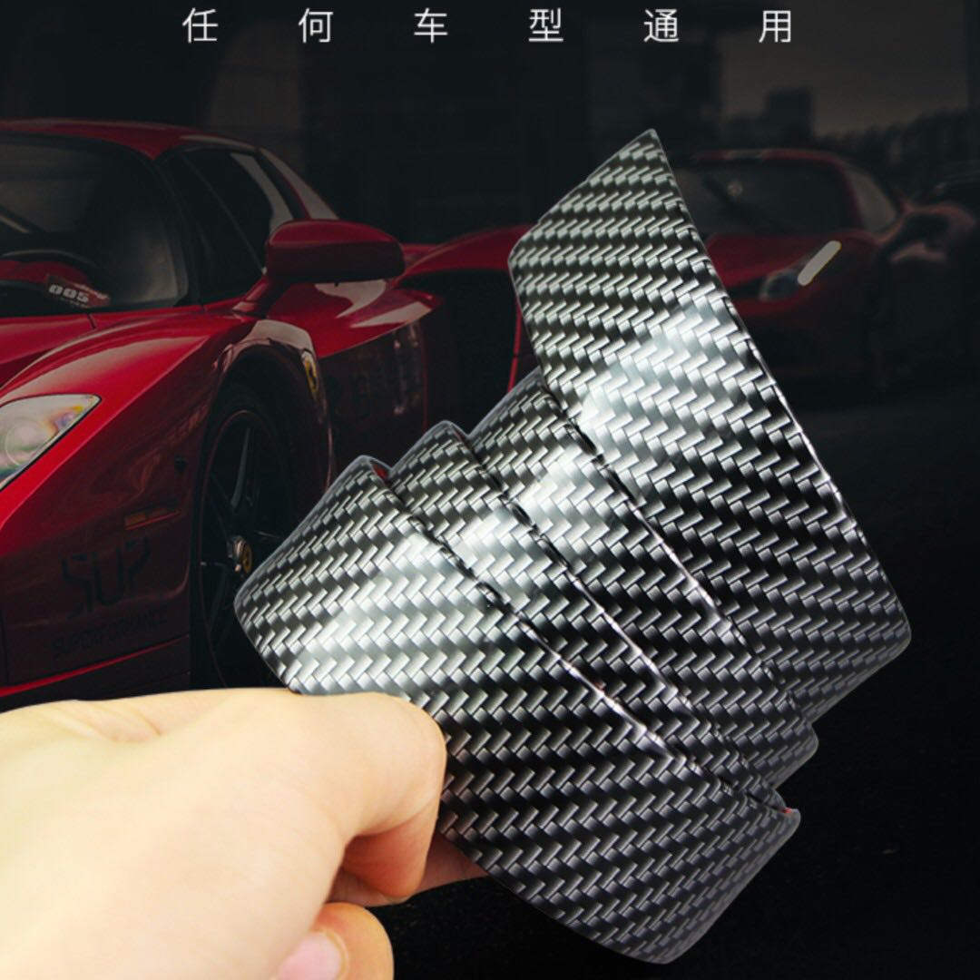 """2 Pcs 19/"""" Real Carbon Fiber Car Scuff Plate Door Sill Cover Panel Step Protecors"""