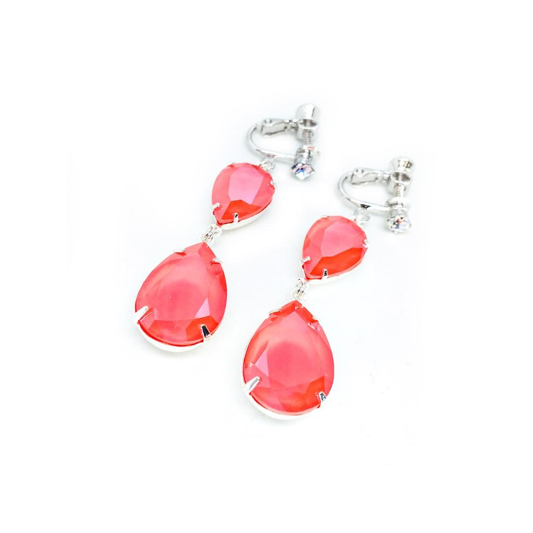 Clip-on Earrings in Swarovski Coral Orange