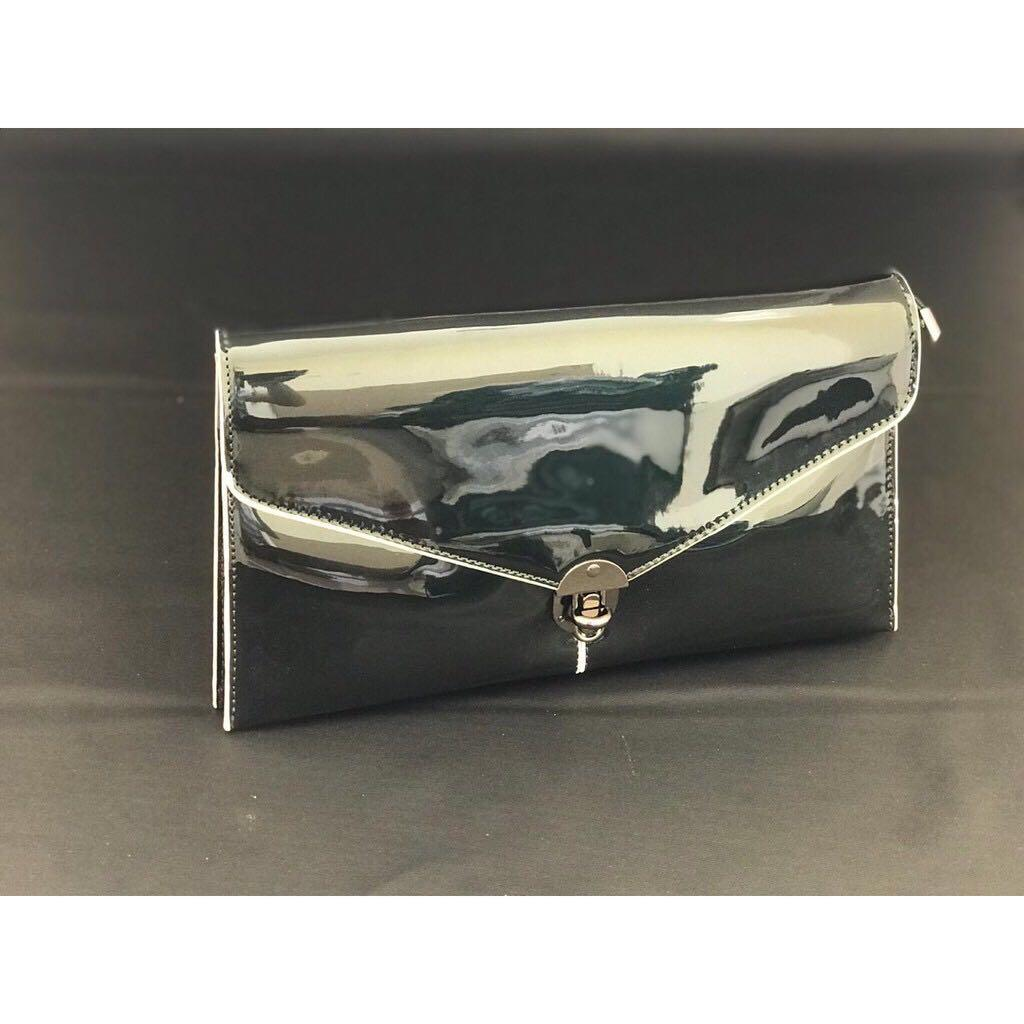 CLUTCH wanita glossy hand bag wanita IMPORT KOREA - GREEN