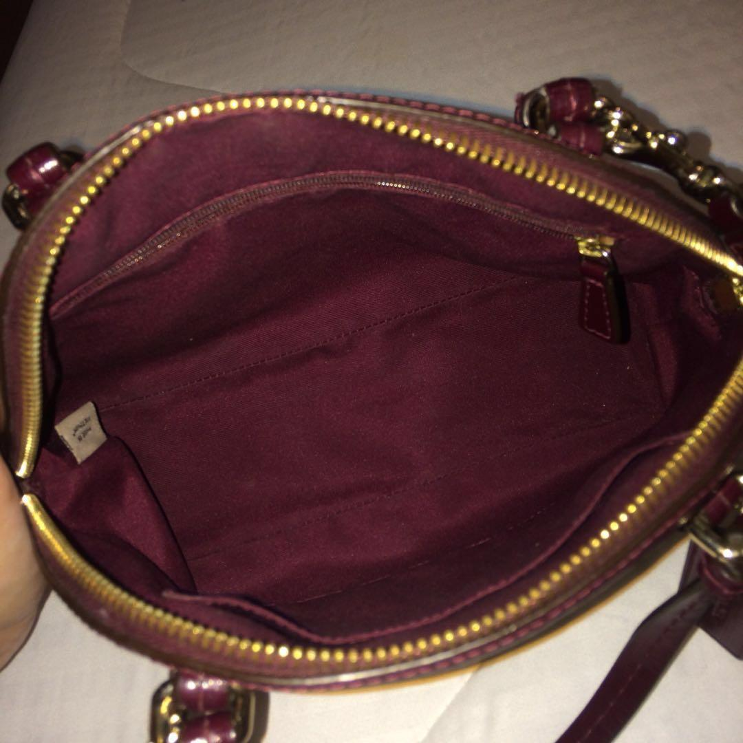 Coach Peyton Patent Leather Mini Cora Domed Satchel