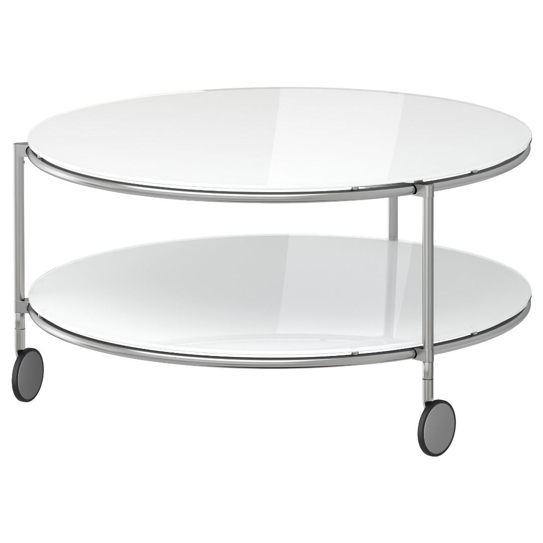 Coffee Table White Round Modern Gl