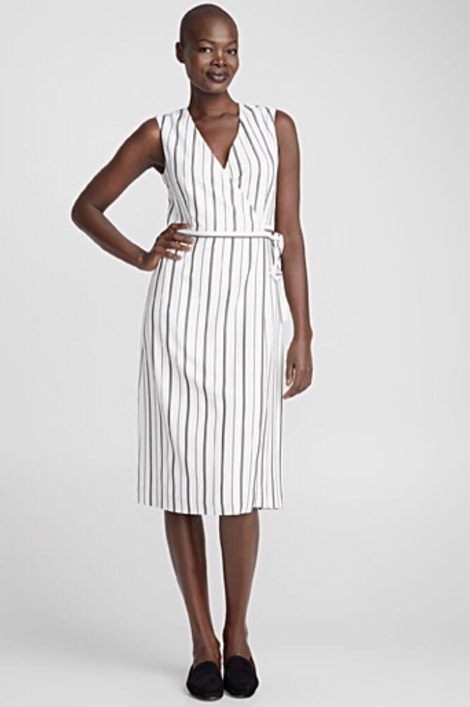 Contemporaine Striped Midi Wrap Dress - new with tags
