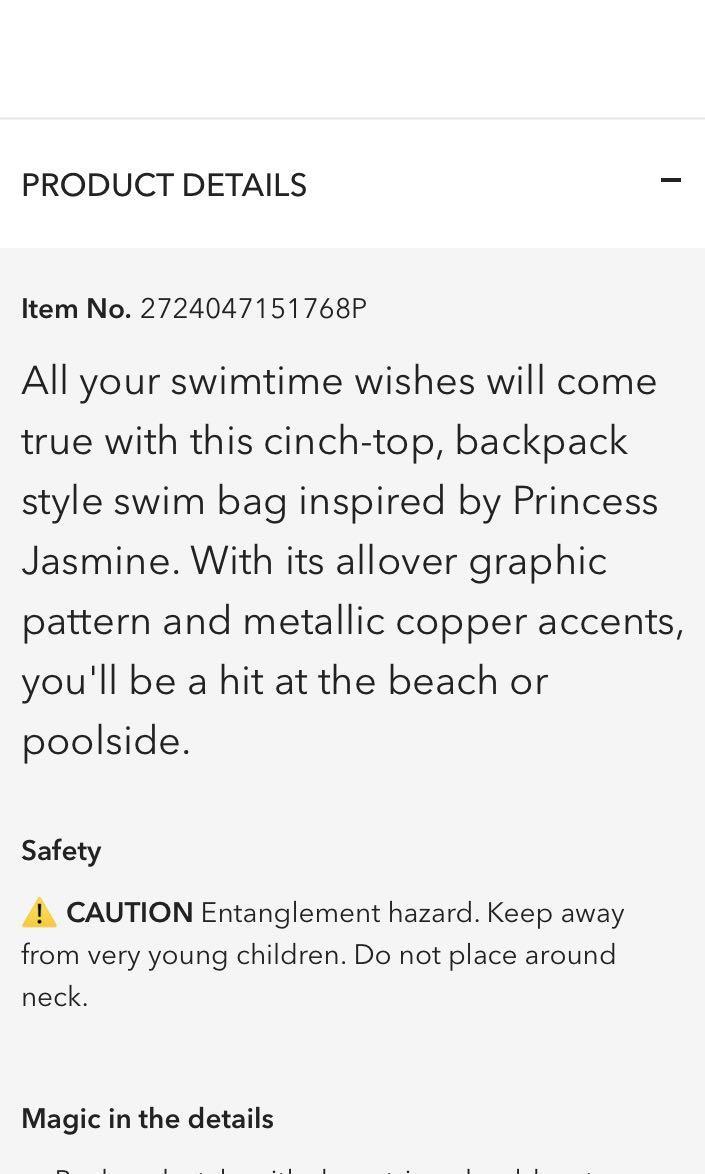Disney princess jasmine bag