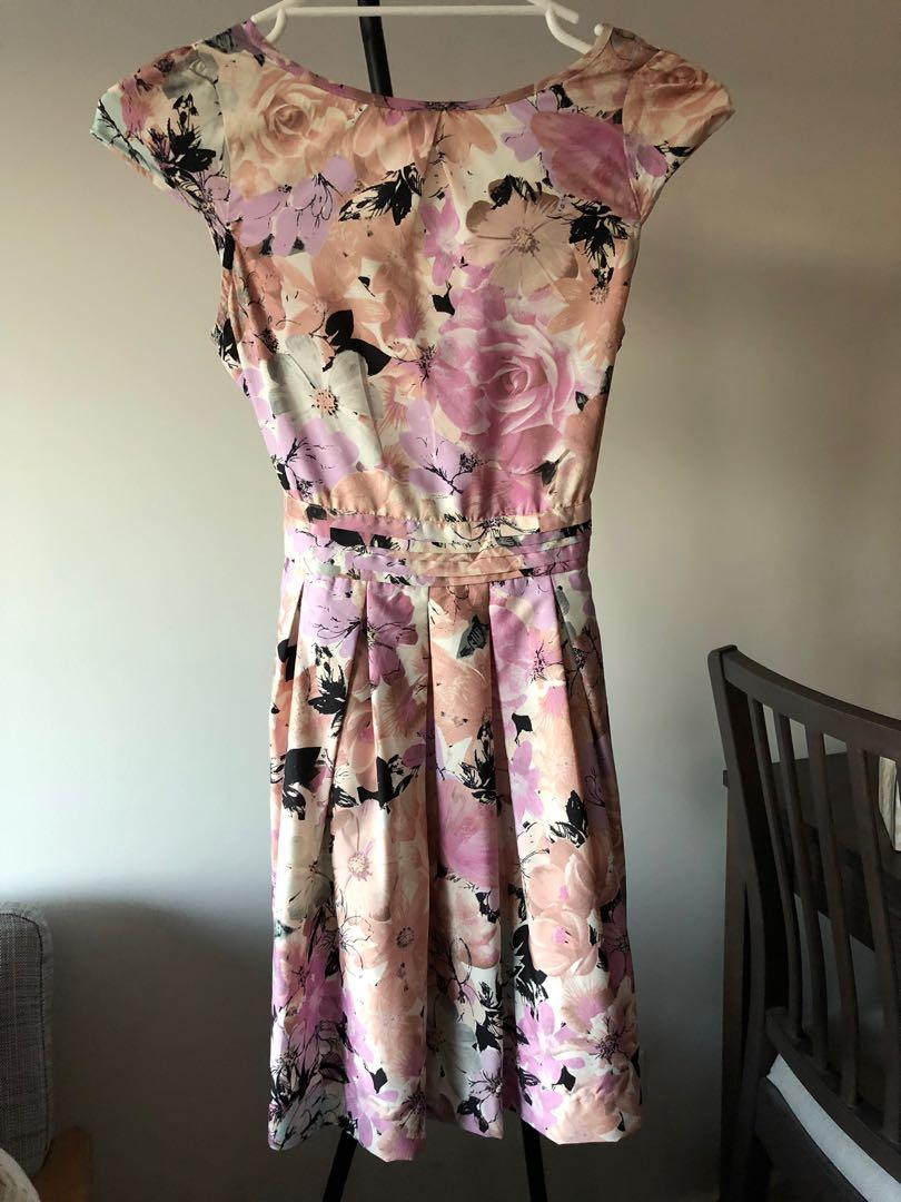 Dorothy Perkins pink floral dress A-line with back tie