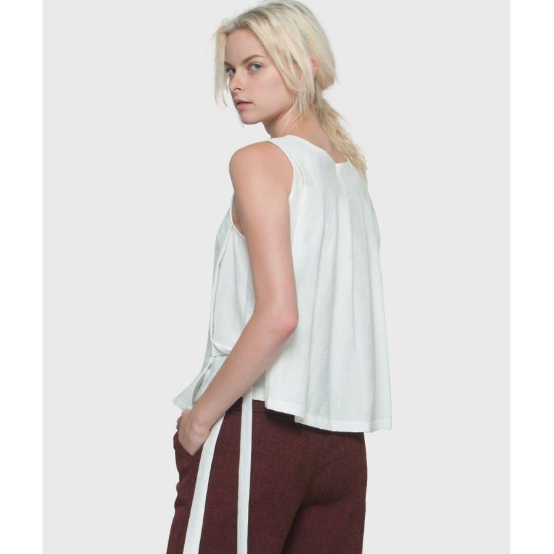 ELLYSAGE White Back Pleat Side Tie Top