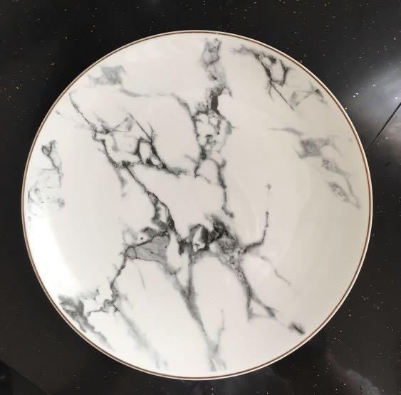 Gold Lining Marble Printing Ceramic Dining Plate