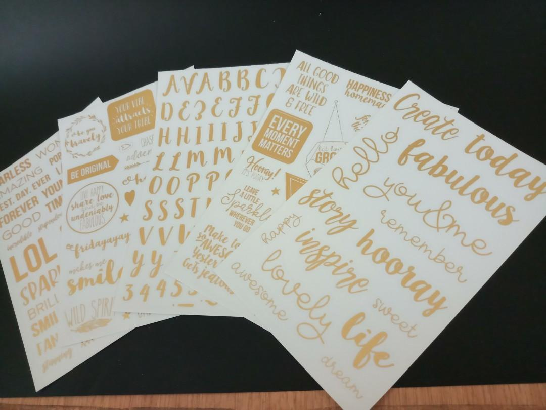 Stickers - golden words with transparent base