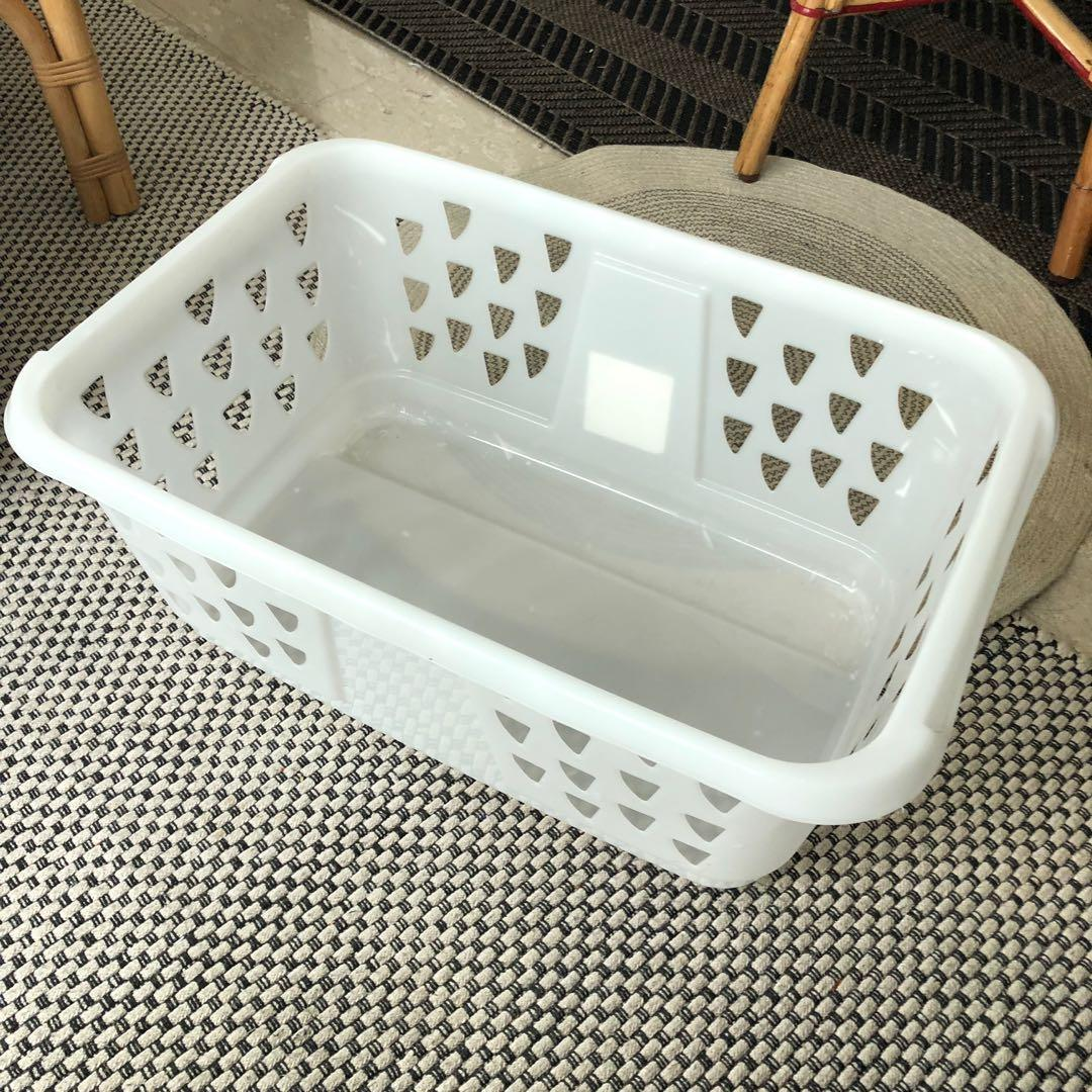 Ikea laundry basket   white plastic, Everything Else on Carousell