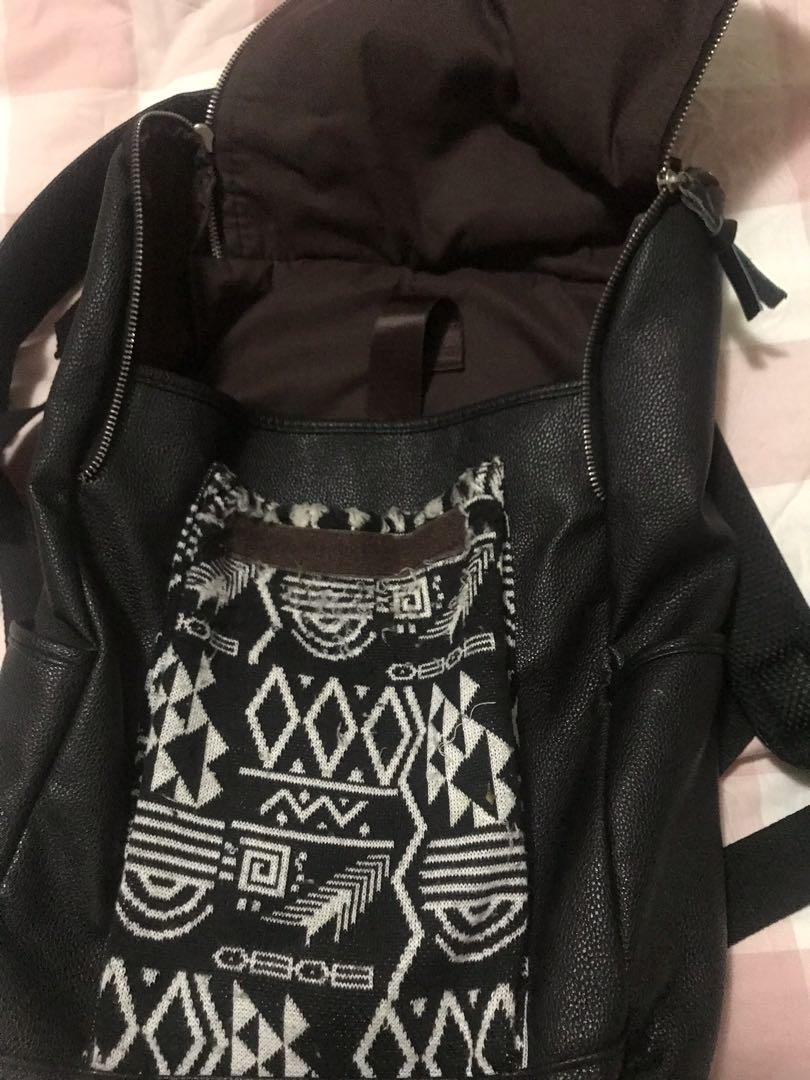 Leather and cotton print back pack