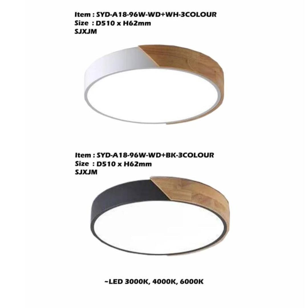 Led Ceiling Light Wooden/Round /3 Colour