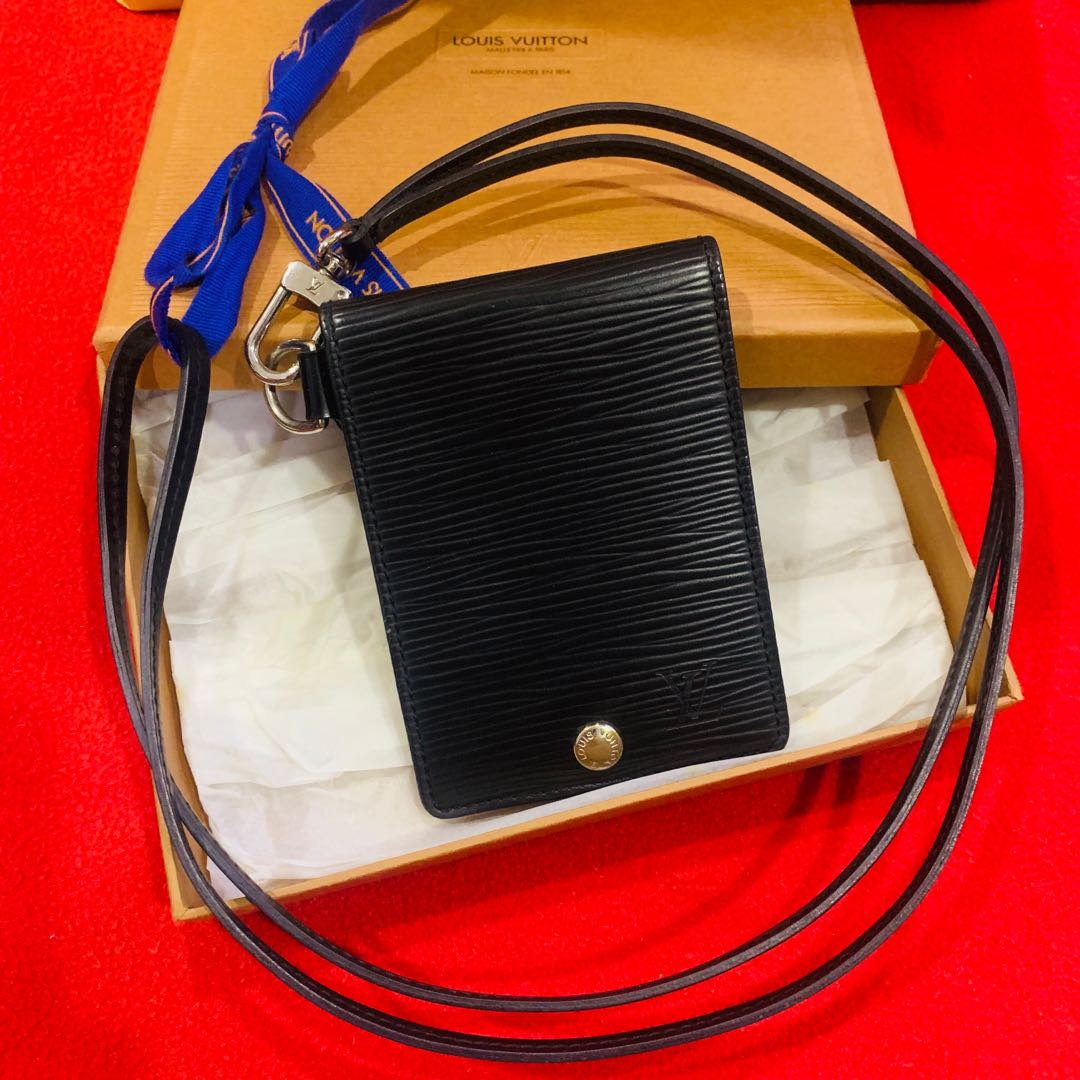 b73133012a579 Louis Vuitton Badge ID card holder / landyard Black Epi leather, Luxury,  Accessories, Others on Carousell