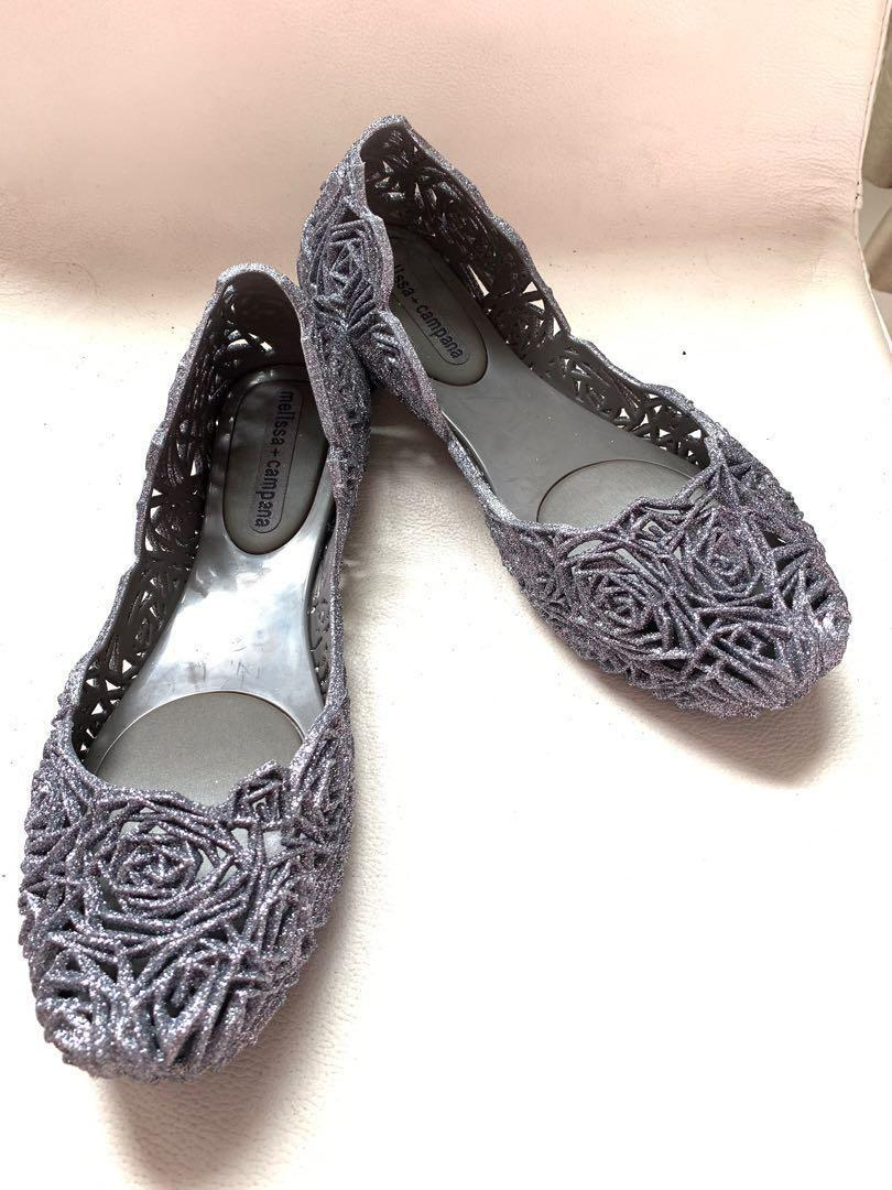 Melissa Campana Fitas II. Shoes Flats. Authentic. Grey Silver Glitter. Nt Fitflop Jelly Jellies Plastic